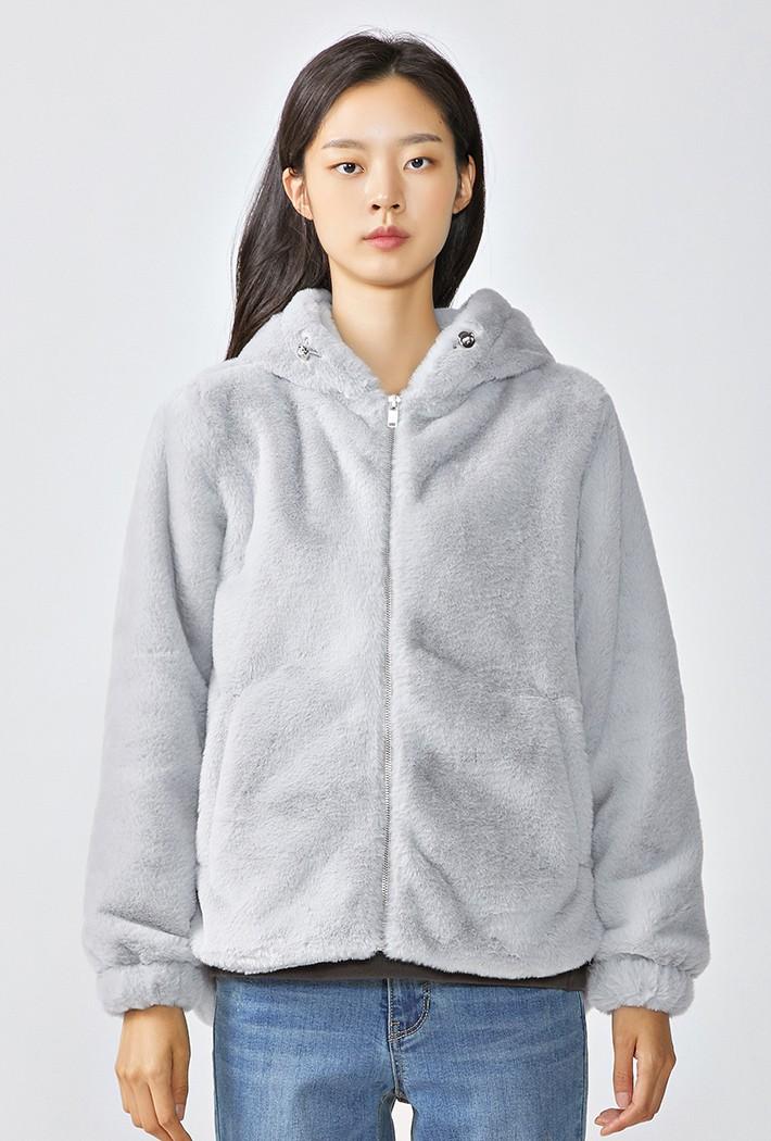 여성 후드형 밍크보아 점퍼KFRG4316D0E