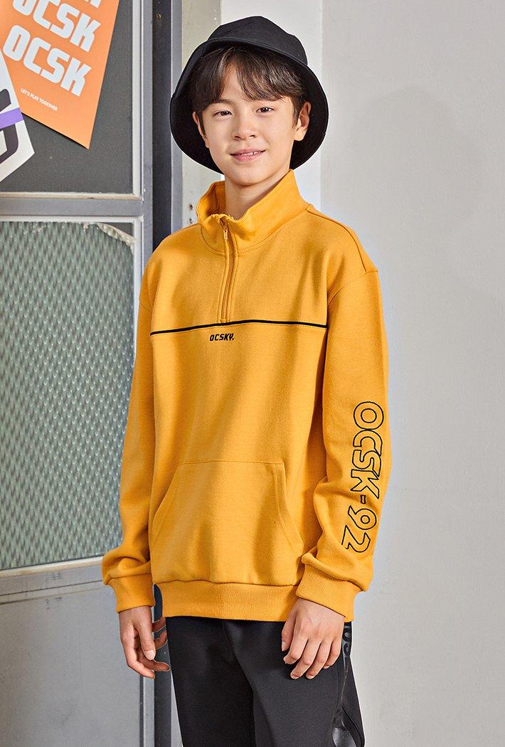 남아 소매 그래픽 포인트 오버핏 하이넥 티셔츠KGJB5129E0F